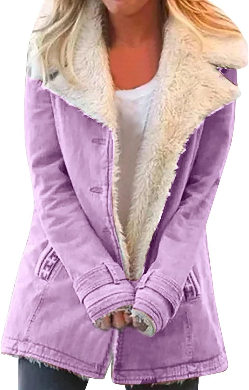 Womens Fuzzy Fleece Jacket Open Front Cardigans Jacket Coats Plus Size Outwear with Pocket For Warm Winter