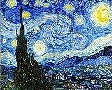WOWDECOR Cuadro DIY por números, para adultos, niños, niñas, cielo estrellado de Van Gogh, 40 x 50 cm, preimpreso, lienzo de pintura al óleo (con marco)