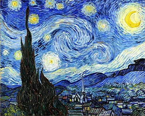 Wowdecor Malen nach Zahlen Kits für Erwachsene Kinder, DIY Zahlen Malerei – Sternennacht von Van Gogh Wunderschöner Himmel 40 x 50 cm – Neue geprägte Leinwand (kein Rahmen)