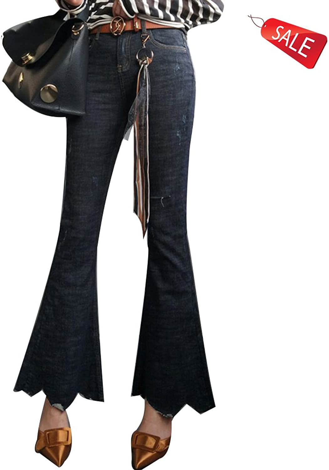 Europe The Jeans High Waist Cut Spring and Autumn Slim Elasticity Retro Boot Cut Pant (Size   27)
