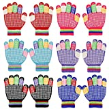 QKURT 6 paia di guanti in maglia antiscivolo per bambini, guanti elastici caldi invernali Guanti elasticizzati unisex per ragazzi e ragazze di 5~8 anni