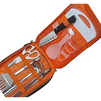 【Lucky Link8】キャンプ 調理器具 8点 セット アウトドア ポータブル クッキングツール バーベキュー 収納バッグ付き