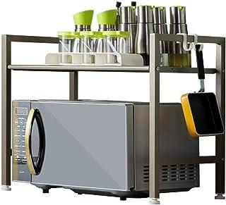 Support de four à micro-ondes Acier inoxydable Cuisine Micro-ondes Racks 2 étagères Four De Rangement Rack Espace De Range...