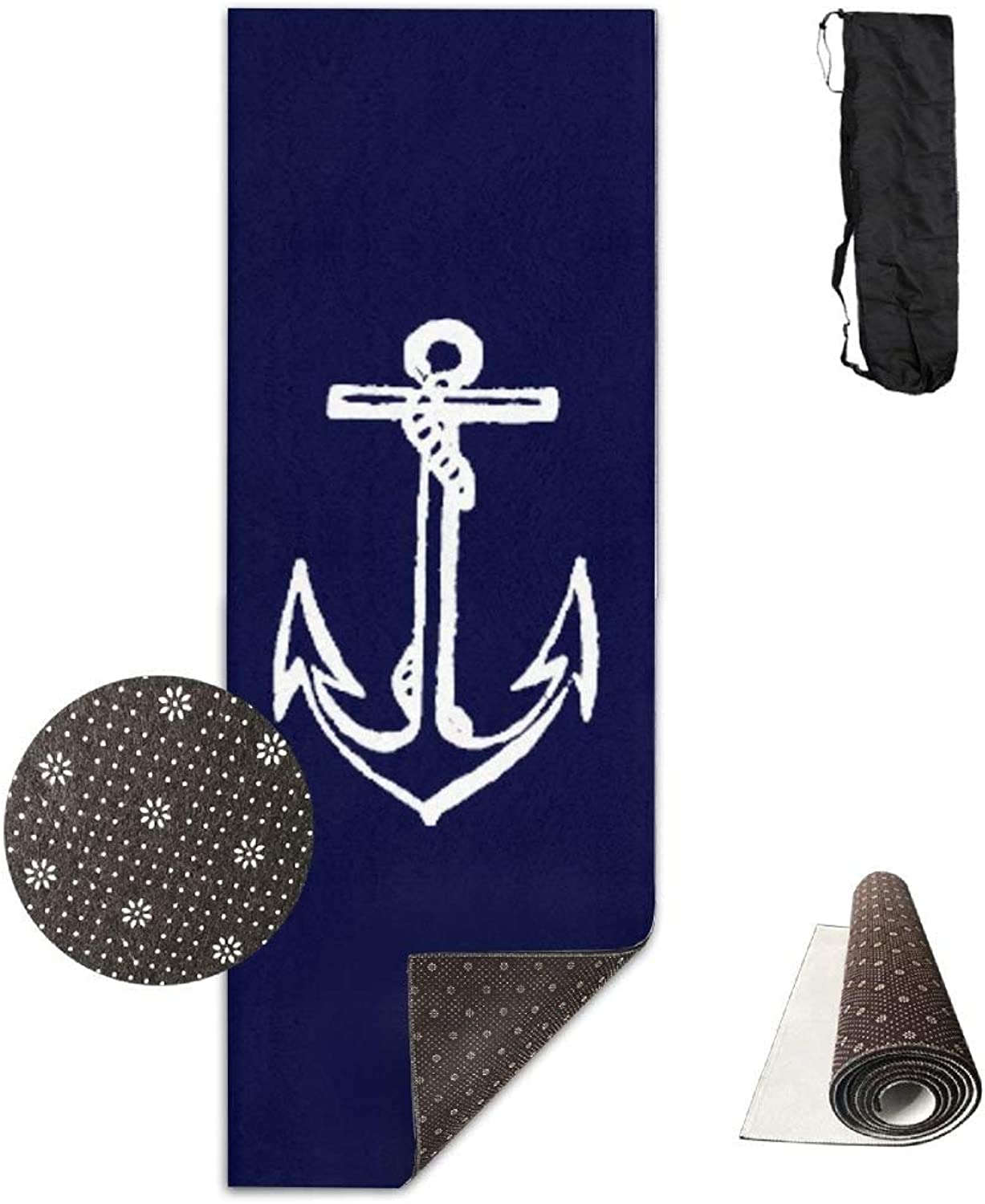 Nautical Navy blueee Anchor of Pirate Yoga Mat  Advanced Yoga Mat  NonSlip Lining  Easy to Clean  LatexFree  Lightweight and Durable  Long 180 Width 61cm