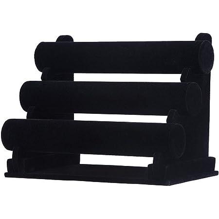 Présentoir à Bijoux Porte-Bracelet Amovible à 3 Niveaux en Velours Noir pour Présenter des Bracelets De Montres & Bracelets
