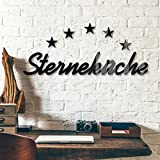 wall-art Sterne Dekobuchstaben 3D Acrylbuchstaben Sterneküche Schwarz Deko Buchstaben Küche 54x10 cm Schriftzug aus Glas