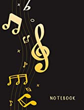 "Notebook: Composition Notebook. College ruled. 120 Pages. Perfect for school notes, Ideal as a journal or a diary. 9.69"" x 7.44"". Great gift idea. (Music themed, clef, gold, black. Soft matte cover)."