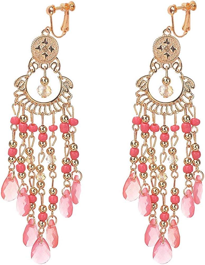 Classic Seed Beaded Clip on Earrings for Girl Women Bohemian Chic Bead Chandelier Dangle Drop