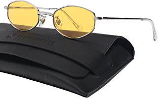 b846791f5dc VIVIENFANG 90 s Vintage Small Oval Sunglasses Tinted Lens Tiny Metal Shades  For Men Women 87156