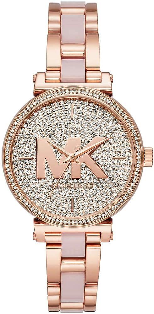 Michael kors orologio analogico al quarzo per donna, in acciaio placcato rose gold MK4336