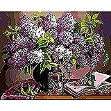 clockfc Pintura por números DIY Pintura al óleo Set Pincel Pintura Adultos niños Principiantes Pintura a Mano Lavanda Flor 40x50cm (con Marco)