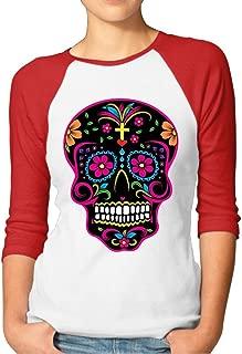 ZYXcustom Flowers Sugar Skull Pretty Women Plain Raglan Funny Printed T-Shirts