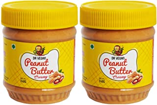 Dr Vegan Peanut Butter, 340 G, Creamy - Made from Real Roasted Peanuts, Keto, Rich in Protein (Pack of 2)