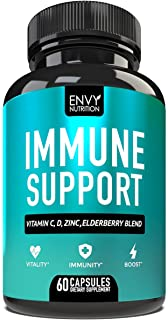 Immune Support - Immunity Boost Supplement with Elderberry, Vitamin C, Echinacea and Zinc - Once Daily Immune System Boost...