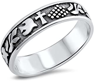 Antique Cross Purity with Dove Band .925 Sterling Silver Ring Sizes 5-10