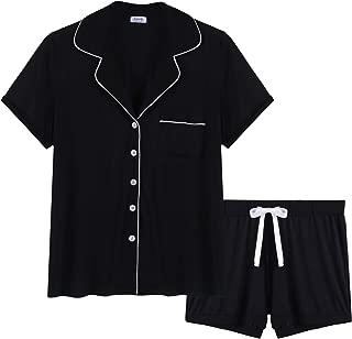 Womens Soft Bamboo Pajama Button Down Short Sleeve Pj Set