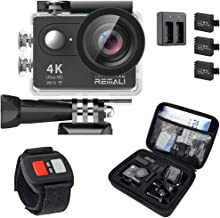 REMALI CaptureCam 4K Ultra HD and 12MP Waterproof Sports Action Camera Kit with Carrying..