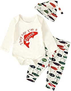 Christmas Merry Wishes 2020 2PCS Clothes Set Infant Toddler Baby Letters Tops Romper + Fish Print Pants +Hat 3PCS Outfits ...