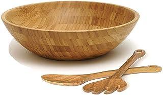 Bamboo Salad Bowl with Serving Utensils Wood Round Salad Bowl - Large 3 Piece Set