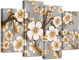 LevvArts 4 Pieces Canvas Wall Art Plum Blossom Flower Painting Yellow and Grey Floral Canvas Artwork Vintage Home Living Room Bedroom Decor Stretched and Framed Ready to Hang