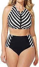 Elogoog Womens Swimsuit Plus Size Zipper High Waist Swimwear Stripes Printed Bikini 2 Piece