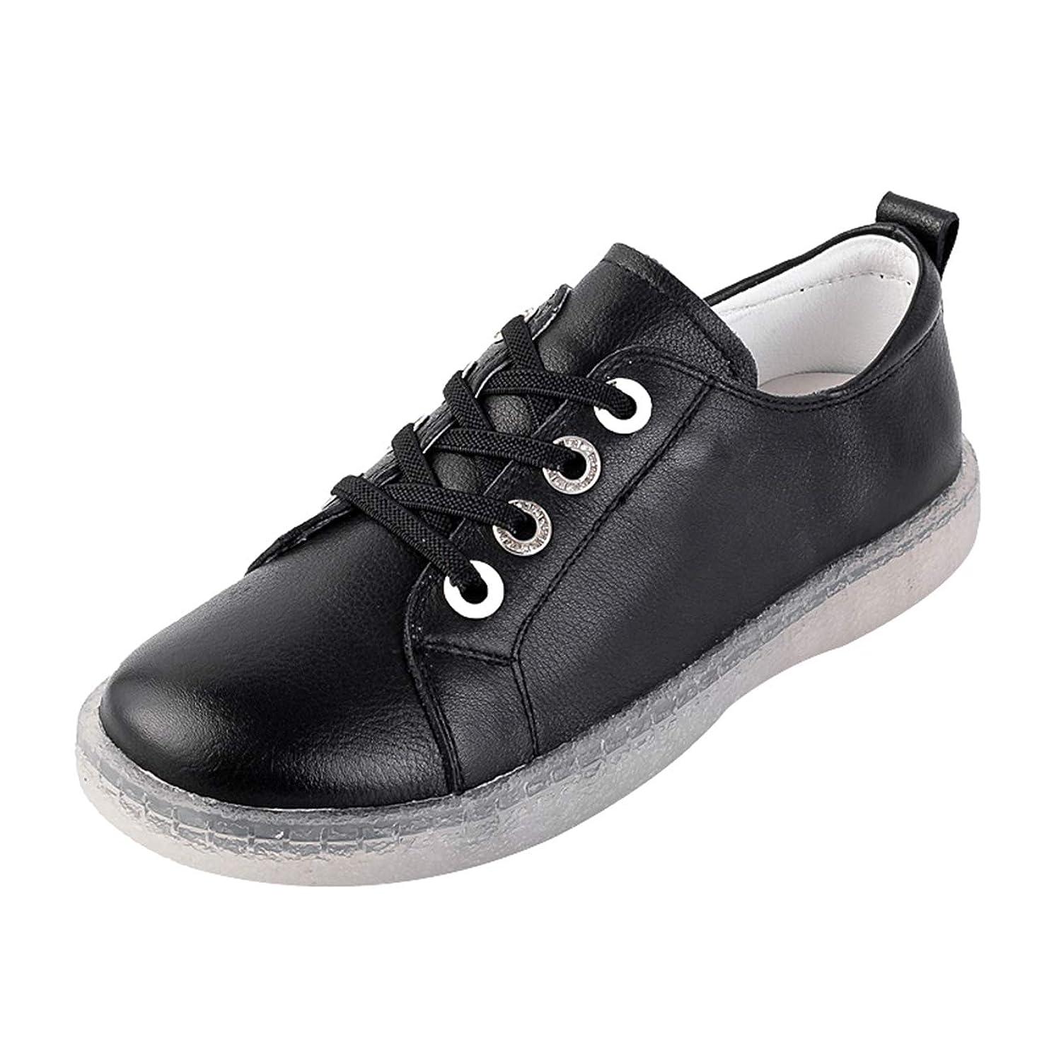 スポーツの試合を担当している人狼強います[ZUYEE] ズイェ レディース レースアップシューズ 本革 ローヒール ゴム紐 フラットシューズ ウォーキングシューズ スニーカー 白の靴 柔らかい カジュアル