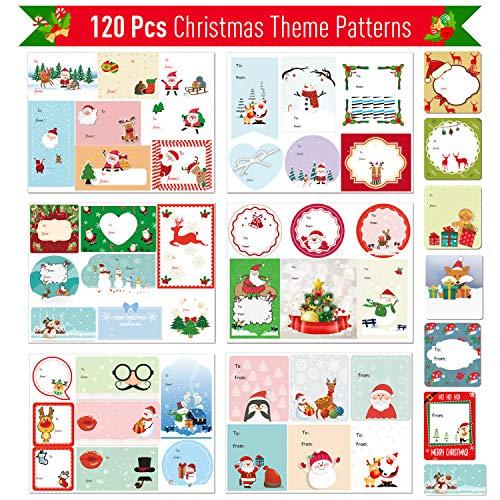Joyjoz Adesivi Per Etichette Natalizie 120 PCS, Chiudipacco Adesivi Natale Etichette Adesivi Scrapbooking, Etichette Regalo Decorative Per Compleanno Natale Pacchi Regalo