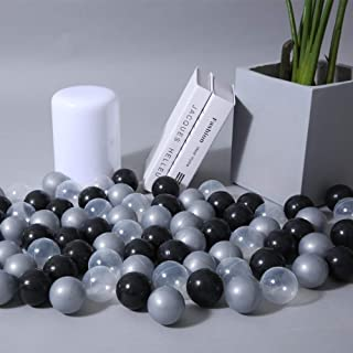 PlayMaty Colorful Pit Balls 100 Pieces Phthalate Free BPA Free Plastic Ocean Balls Crush Proof Stress Black Silver Transparent Balls for Kids Playhouse Pool Ball Pit Accessories 2.1 Inches