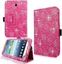 Cellularvilla Pu Leather Glitter Flip Folding Stand Shockproof Kickstand Protective Case Cover Compatible with Samsung Galaxy tab 3 7.0 inch P3200 (Pink Glitter)