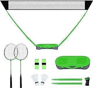 FBSPORT Portable Badminton Net Set with Storage Base, Folding Volleyball Badminton Net with 2 Badminton Rackets 2 Shuttlecocks Griptape 10x5 ft Net, Easy Setup for Beach Backyard Combo Set