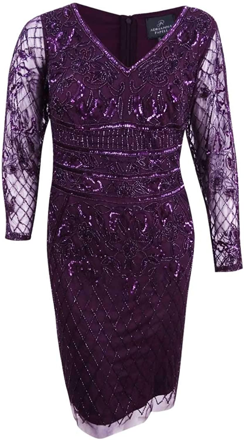 Adrianna Papell Womens Beaded Above Knee Cocktail Dress