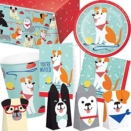 101-teiliges PARTY SET * HUNDE * für Kindergeburtstag mit 8 Kinder: Teller, Becher, Servietten, Einladungen, Tischdecke, Partytüten, Luftschlangen, Luftballons | Hund Haustier Jack Russell Terrier