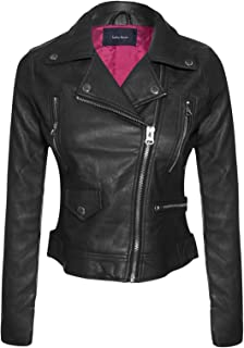 Instar Mode Womens Long Sleeve Zipper Closure Moto Biker Faux Leather/Suede Jacket