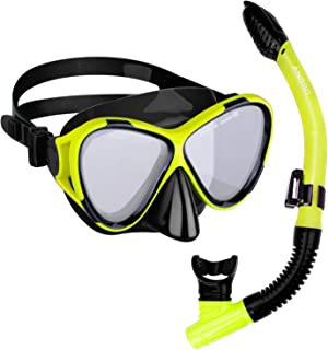 ANGGO Snorkel Set Anti-Fog Film Dive Mask Snorkel Combo Tempered Glass Goggle and Dry Top Snorkel for Swimming and Snorkeling for Adult Youth