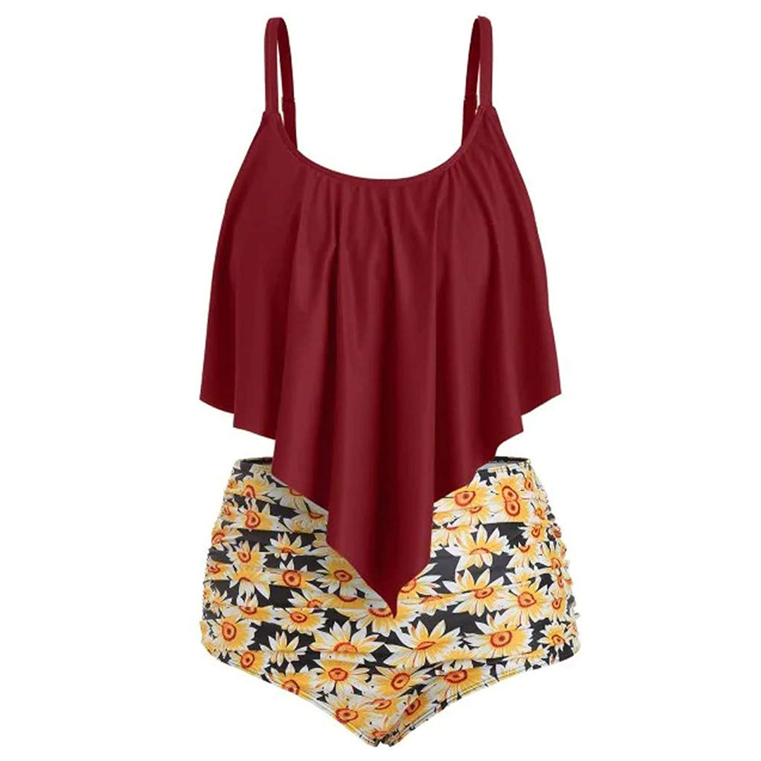 Pervobs Women Sexy 2PC Swimsuit Floral Print Bathing Suits Camis Ruffled Top with High Waisted Bottom Bikini Set