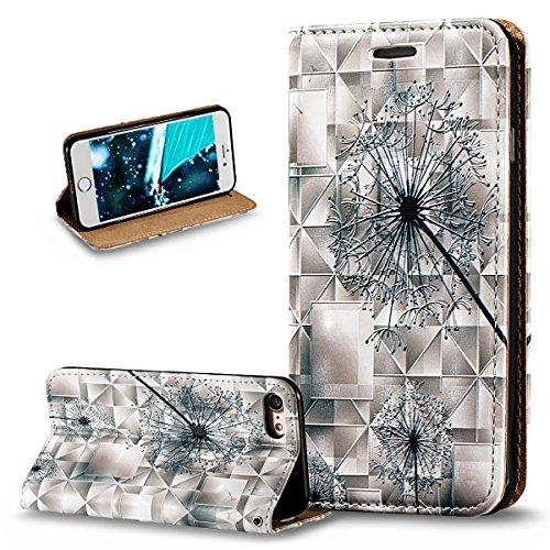 Kompatibel mit iPhone 8 Hülle,iPhone 7 Hülle,3D Gemalt Geprägt PU Lederhülle Flip Hülle Cover Soft Silikon Ständer Wallet Case Tasche Cover Schutzhülle für iPhone 8 / iPhone 7,Löwenzahn Pusteblume
