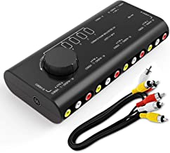 RCA Switch,ABLEWE 4 in 1 AV Audio Video Signal Switcher Splitter S-Video Selector with RCA Cable for Xbox PS2 PS3 Wii DVD TV