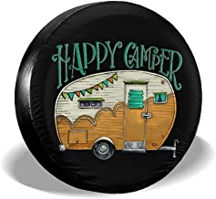 HAINANBOY Happy Camper Spare Tire Covers Potable Corrosion Wheel Covers Weather-Proof for Jeep Trailer RV SUV Truck Camper Travel Trailer Accessories 14 15 16 17 Inch