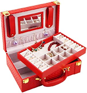 XX_C Jewellery Boxes & Organisers Rectangular Jewelry Box, Faux Leather and Interior Anti-Scratch with Inside Mirror, Travel Case Included, Organizer for Makeup Jewels (Color : Red)