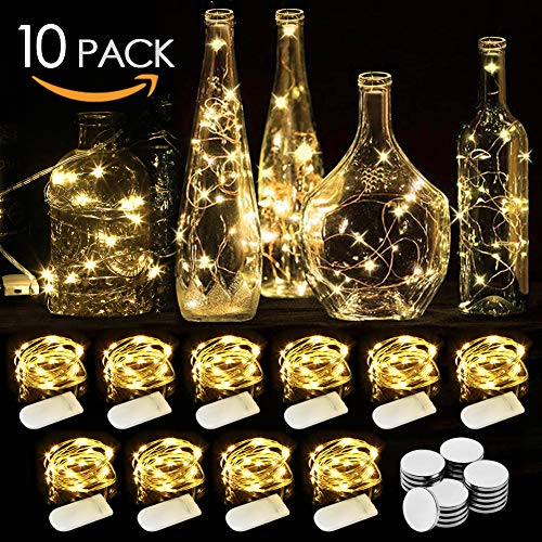 WEARXI LED Lichterkette Batterie - 10 Stück 2M 20LEDs Mini Lichterkette mit Batterie, Lichterkette Draht, LED Beleuchtung Batteriebetrieben Deko für Flasche, Urlaub, Hochzeit, Party Deko, Weihnachten