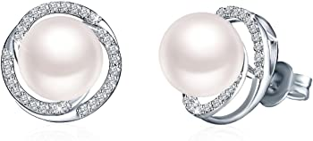 J.Rosee Women's Sterling Silver Cultured White Pearl Stud Earrings