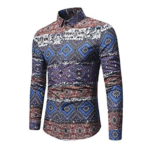 Herren Langarm Hemd Hawaii-Print Fit Slim Retro Druck Hemden Modisch Blumendruck...