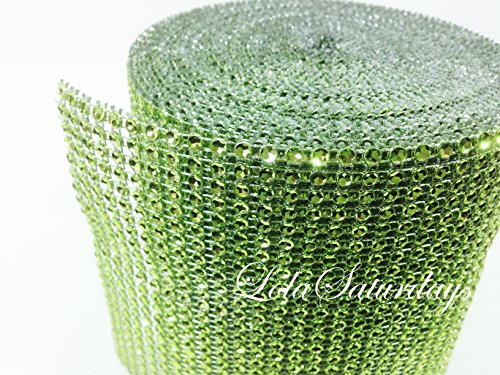 "LolaSaturdays 4.5""x 30FT Diamond Rhinestone Ribbon Wrap Roll- Cake and party decoration Lavender"
