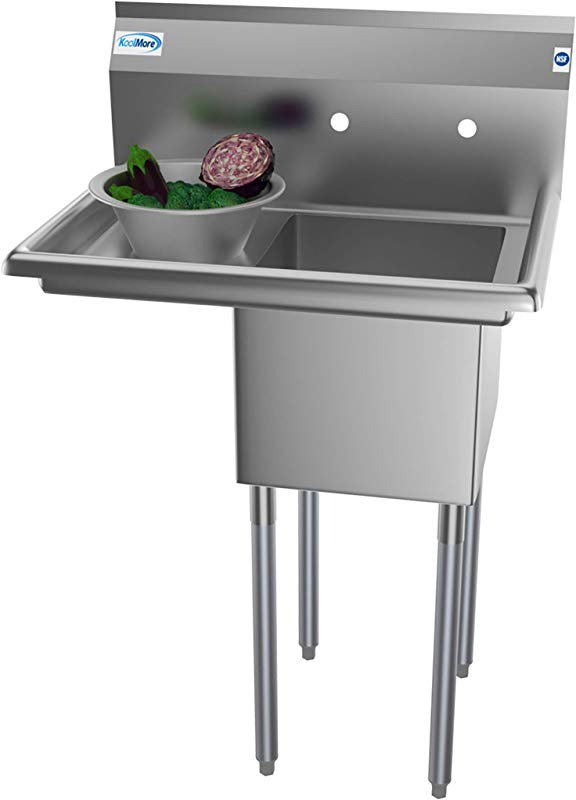 KoolMore 1 Compartment Stainless Steel NSF Commercial Kitchen Prep Utility Sink With Drainboard Bowl Size 14 X 16 X 11 Silver