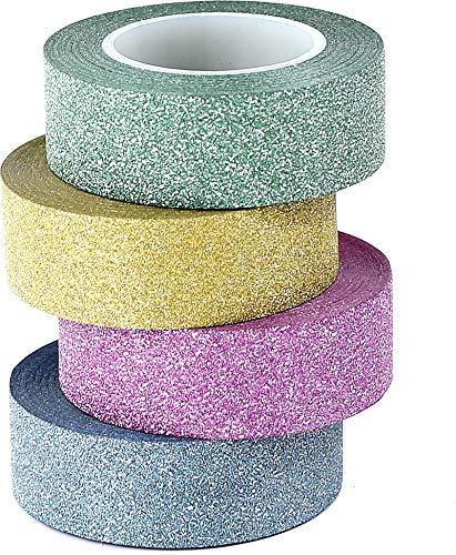 ST tape Glitter Washi Tape-Nastro Decorativo Glitterato,15mm x 9.14m Ciascuno,Set di 4
