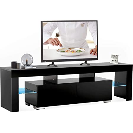 Mecor Modern Black TV Stand,12 Colors LED TV Stand w/Remote Control Lights,High Gloss TV Cabinet w/Storage&2 Drawers,65 Inch Entertainment Center for Living Room