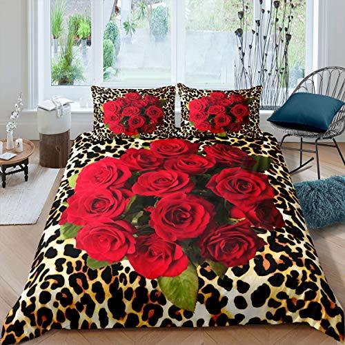Juego de ropa de cama con diseño de rosas en 3D, funda de edredón para niños y niñas, diseño de leopardo, ultrasuave, funda de edredón con cremallera