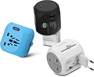 International Power Adapter, UPPEL Travel Adapte European Adapter Wall Charger Power with USB/Type-C Port Support 100V-240V for US,AU,Asia,Europe,UK Plug Adapters Compatible (Black+Blue+White)