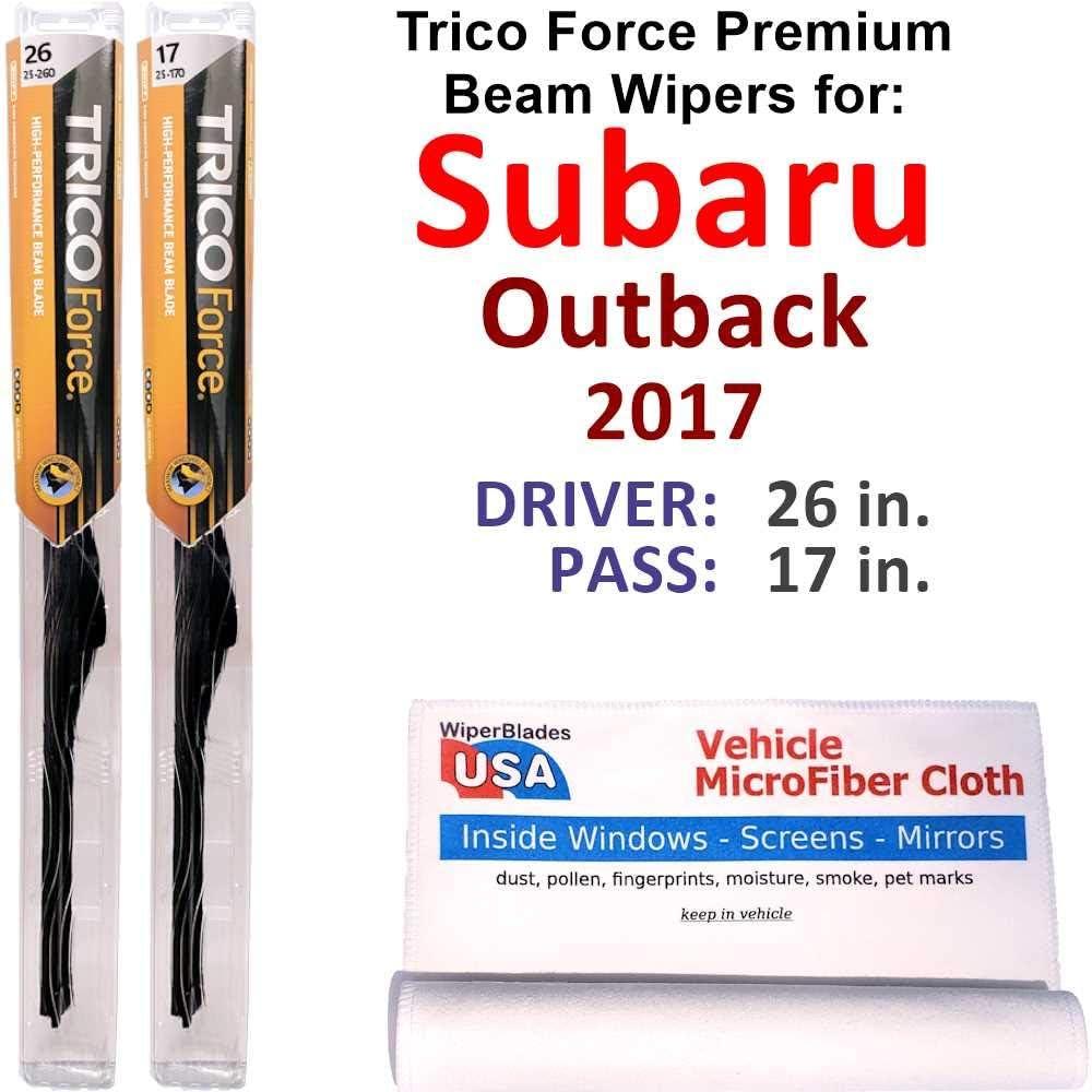 Premium Beam Wiper Blades for 2017 Subaru 現品 Set Trico Outback Forc 予約販売