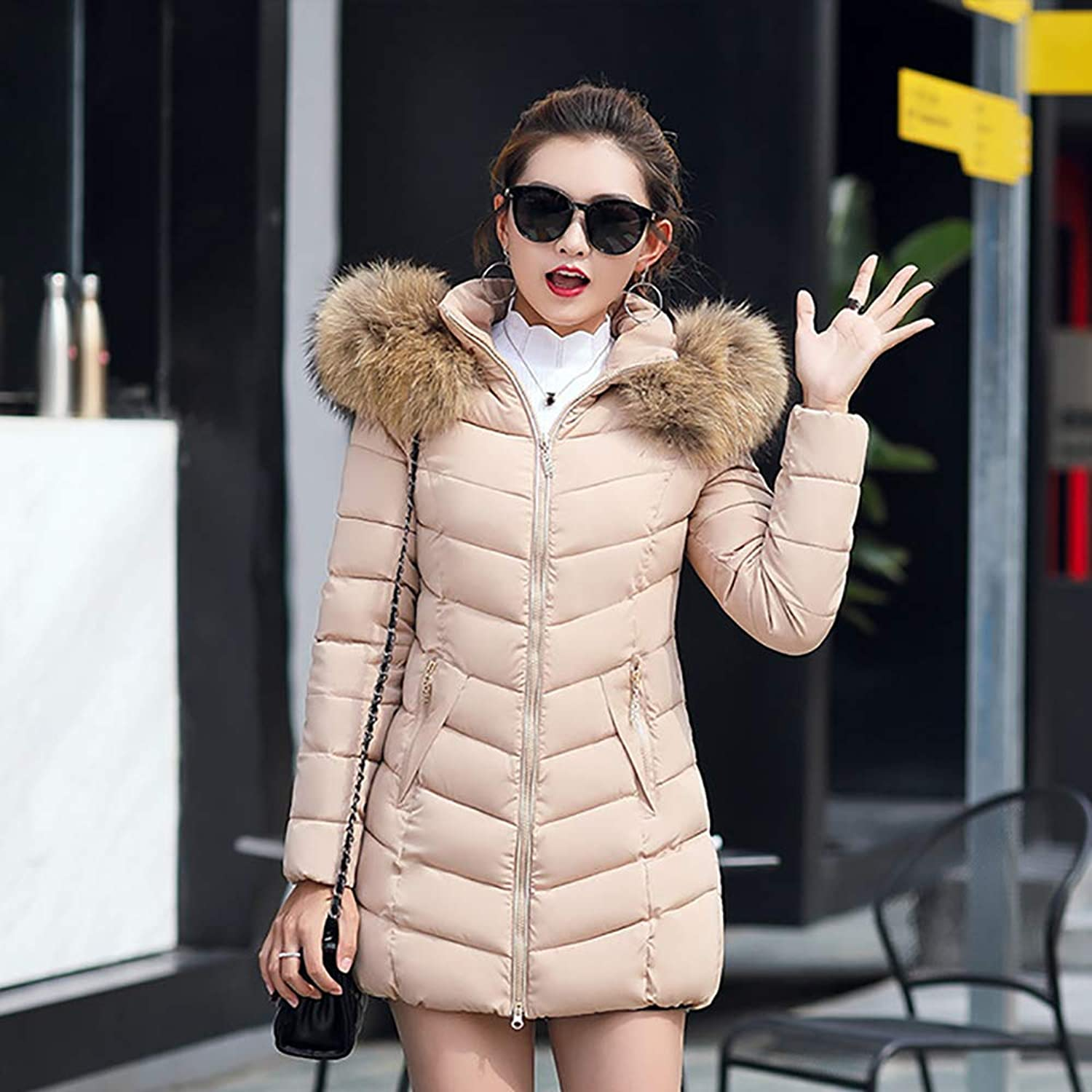 Winter Women's Warm Hooded Coat Long Cotton Padded Jackets, Female Medium and Long Slimming Down Jacket,D,XXL